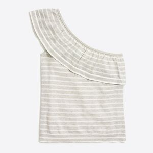Striped one-shoulder ruffle sweater